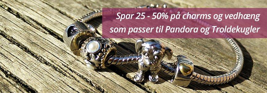 Spar 25-50% på charms der passer til Pandora og Troldekugler smykker